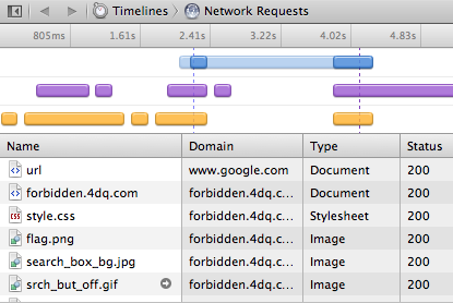 search redirect network activity