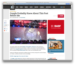 Google I:O Discovery News post