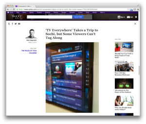 Yahoo TV Everywhere post