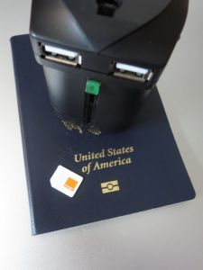 Plug adapter, SIM and passport