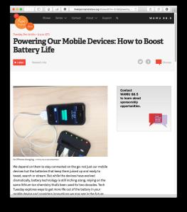 Kojo Nnamdi Show mobile battery life