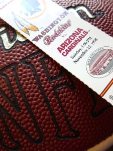 NFL ball and ticket