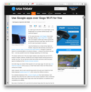 USAT column on free Google apps on Gogo