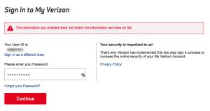 Failed Verizon login