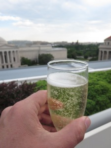 Newseum city view with beverage