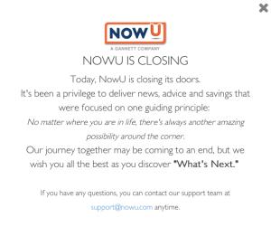 NowU closing notice