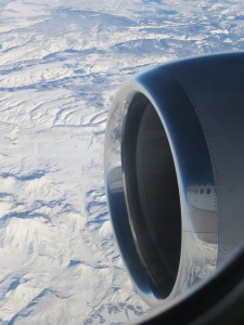 Engine nacelle over mountains