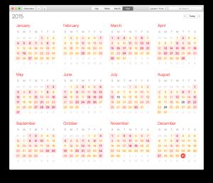 2015 calendar view