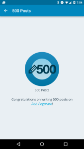 WordPress 500-post badge