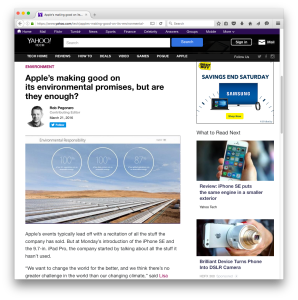 Yahoo Tech Apple-environmentalism post