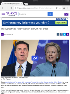 Yahoo Finance Clinton e-mail post
