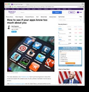Yahoo Finance social-media privacy post
