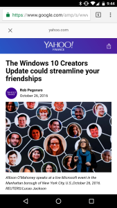 Screengrab of Yahoo post about Win 10 Creators Update