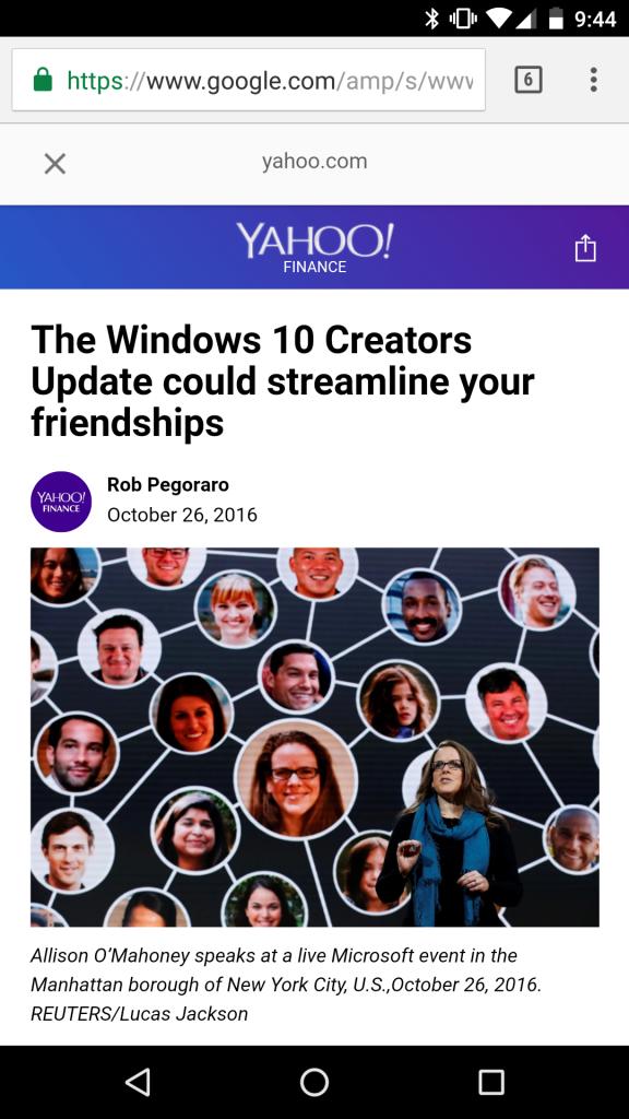Screengrab of Yahoo post about Win 10 Creators Update