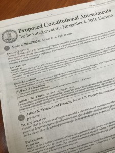 Newspaper ad for 2016 Virginia constitutional amendments