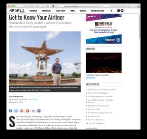 Screenshot of Air & Space story
