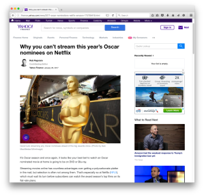 Screengrab of Yahoo Finance Oscars post