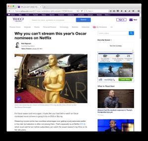 Screengrab of Yahoo Finance Oscars post