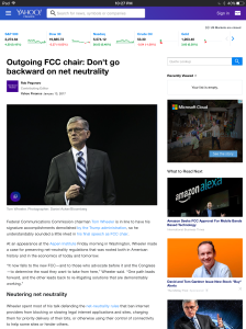 Screenshot of Yahoo Finance post on Tom Wheeler's farewell speech
