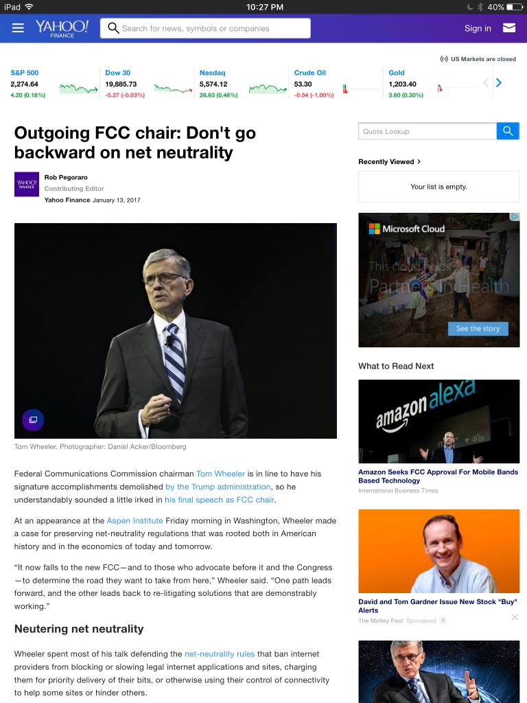 Screenshot of Yahoo Finance post on Tom Wheeler's farewell speech