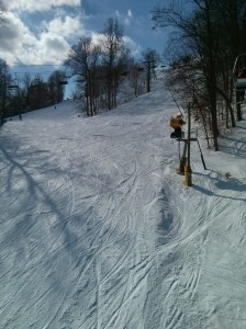 View looking uphill from Ski Liberty's chairlift