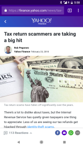 Yahoo tax-return-fraud post