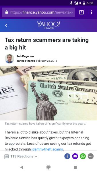 Yahoo tax-return-fraud post