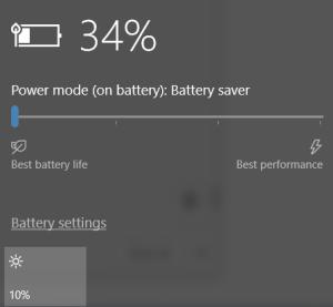 Windows 10 battery-life gauge