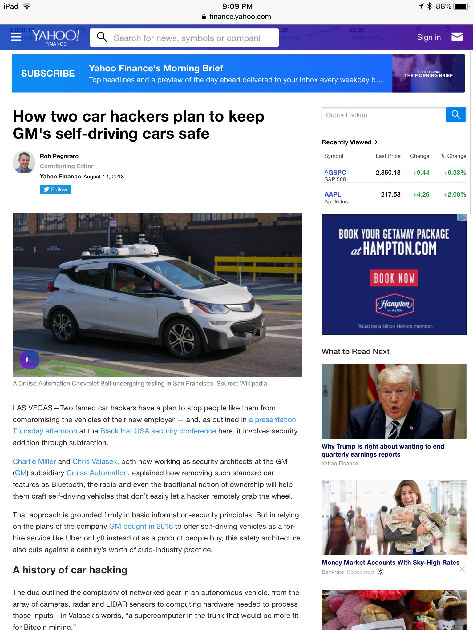 Black Hat self-driving-car infosec post | Rob Pegoraro
