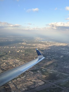 View of Toronto from a departing airplane