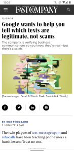 Fast Company verified-SMS post