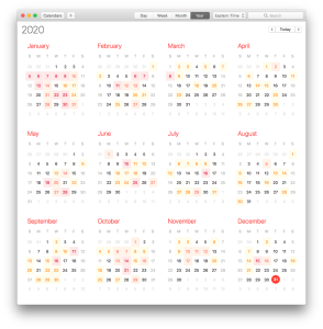 Screenshot of the Mac Calendar app's year view of my work calendar, showing many days with no appointments at all.