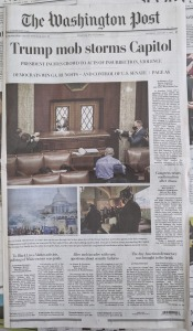 "Photo of the front page of the Jan. 7, 2021 Washington Post with the headline ""Trump mob storms Capitol"""