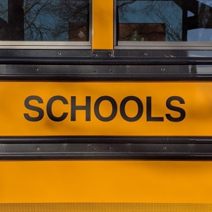 "Picture of a side of a school bus, showing the word ""Schools"""