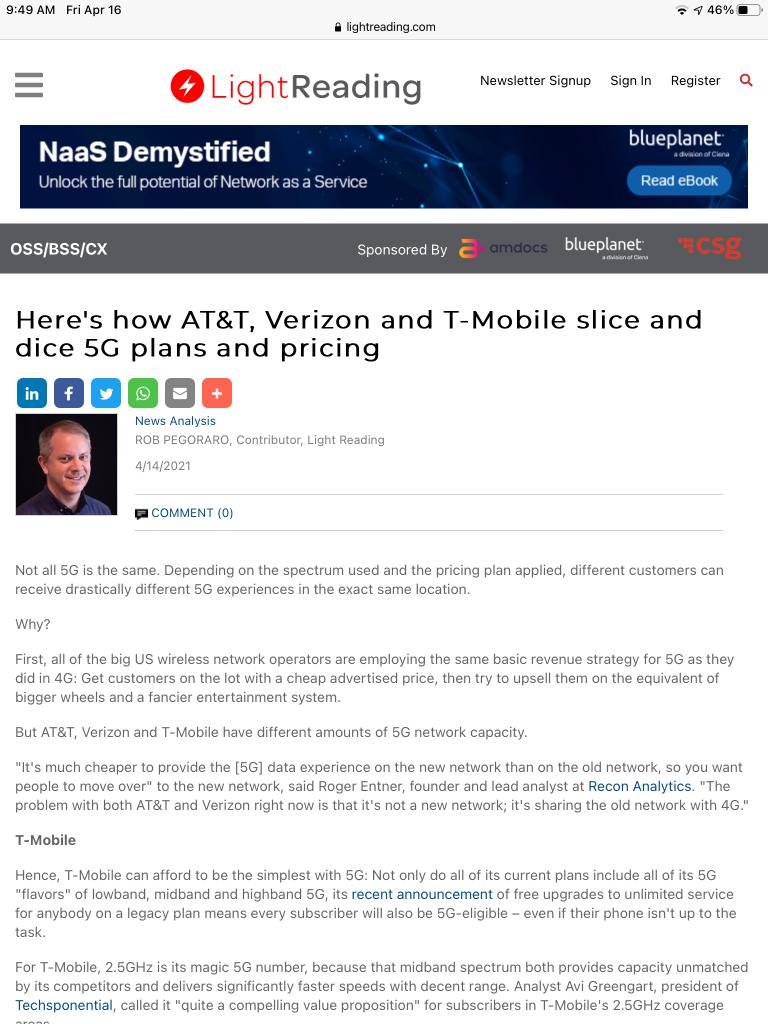 Screenshot of 5G-details post as seen in Safari on an iPad mini