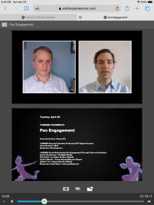 Screenshot of the panel as seen on an iPad, with me at the left and Marinak at the right