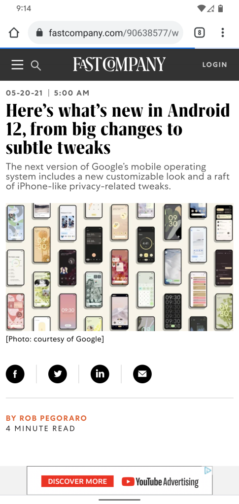 Screen grab of the article as seen in an Android phone's Chrome browser