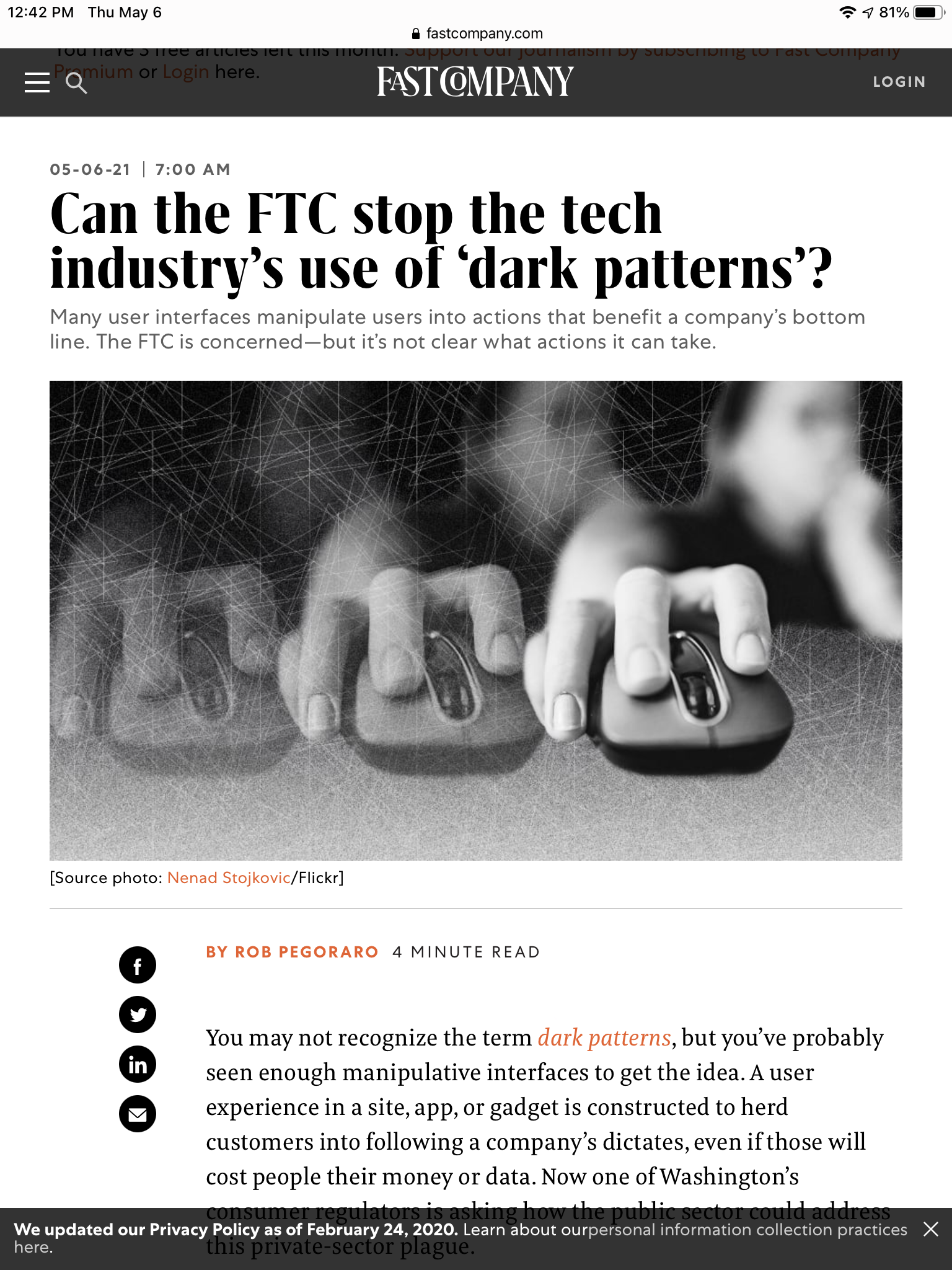 Fast Company FTC dark-patterns post