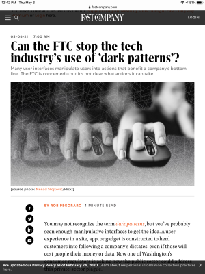Fast Company FTC dark-patterns post