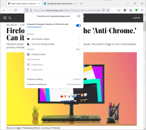 Firefox story as seen in Firefox, with the browser's privacy report card for Fast Company's site displayed