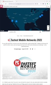 Screenshot of the Fastest Mobile Networks package as seen in Firefox on a Windows 10 laptop